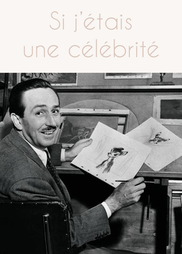 Portrait de Walt Disney en train de dessiner